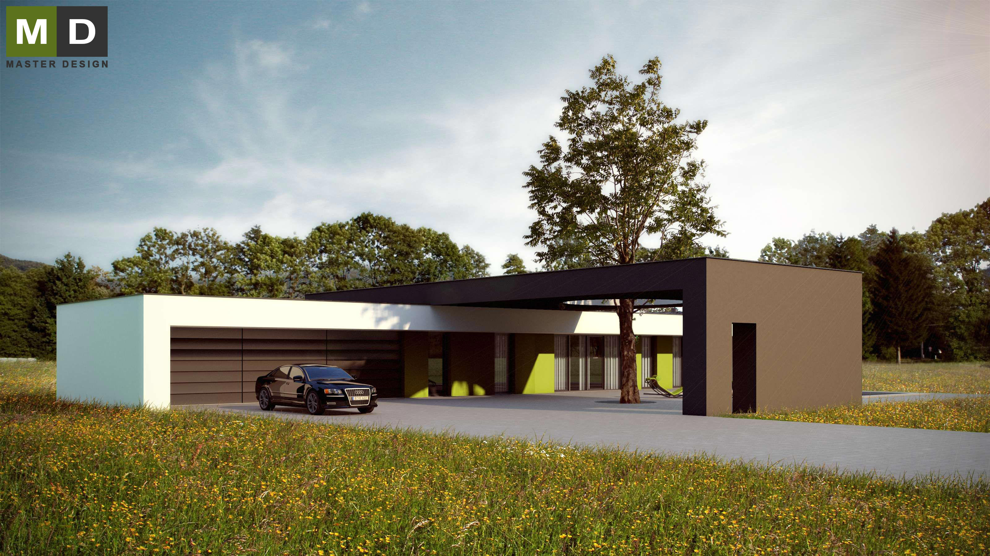 ... Luxury L Shaped Bungalow With A Flat Roof And A Swimming Pool   Kolín  ...