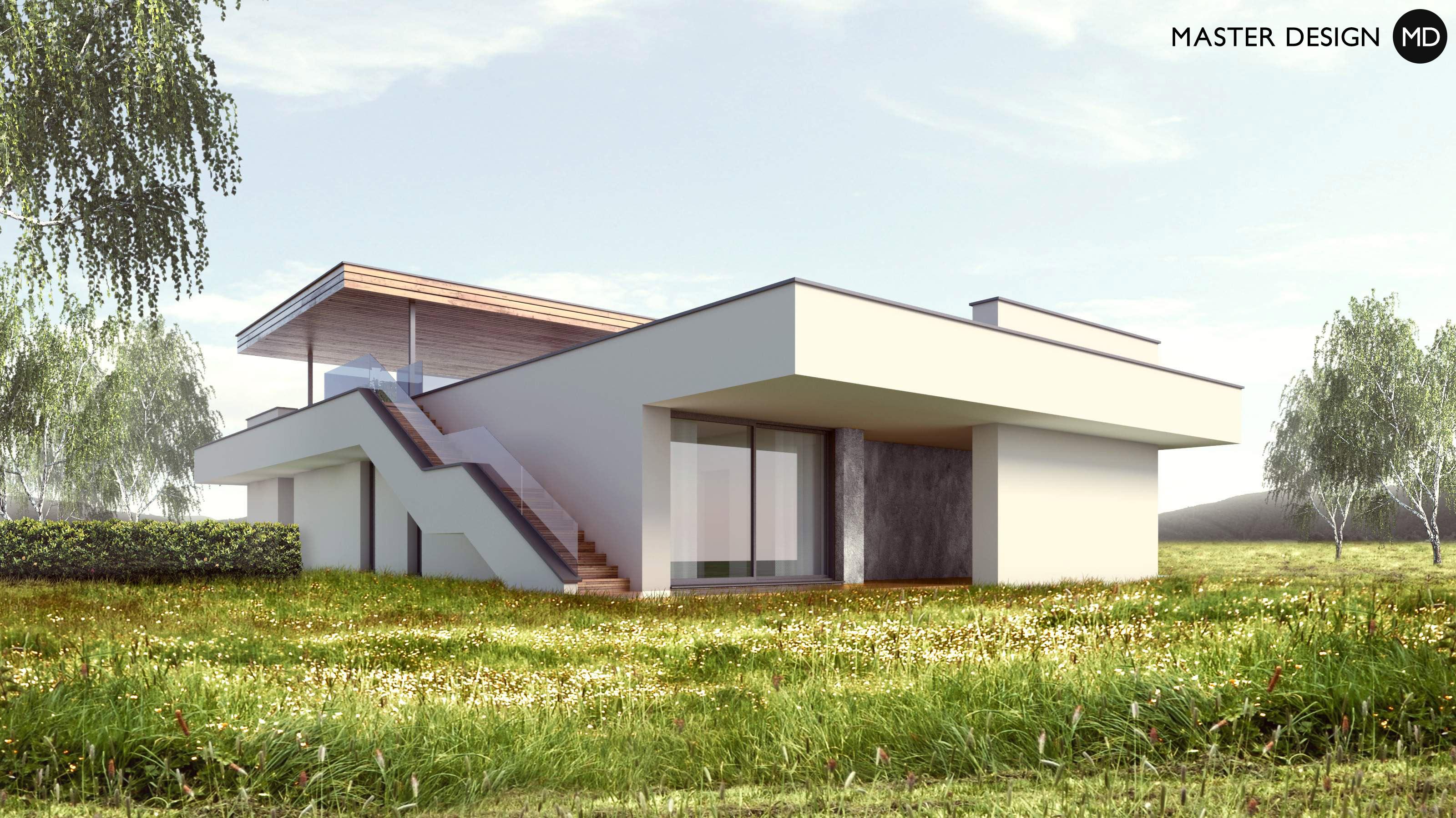 L shaped bungalow with roof terrace levín u berouna vizualizace 3