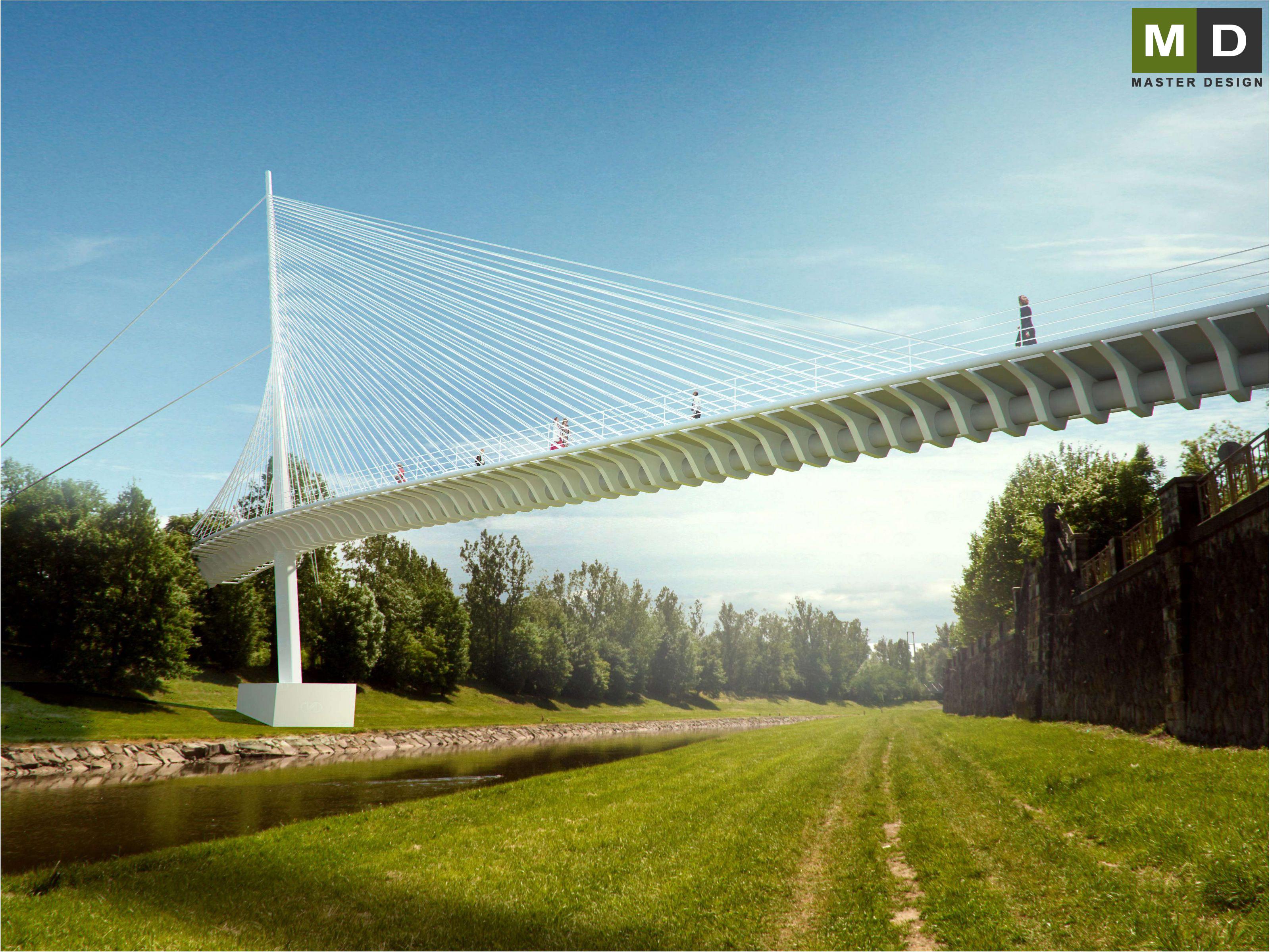 Pedestrian footbridge over the river - Ostrava | MASTER