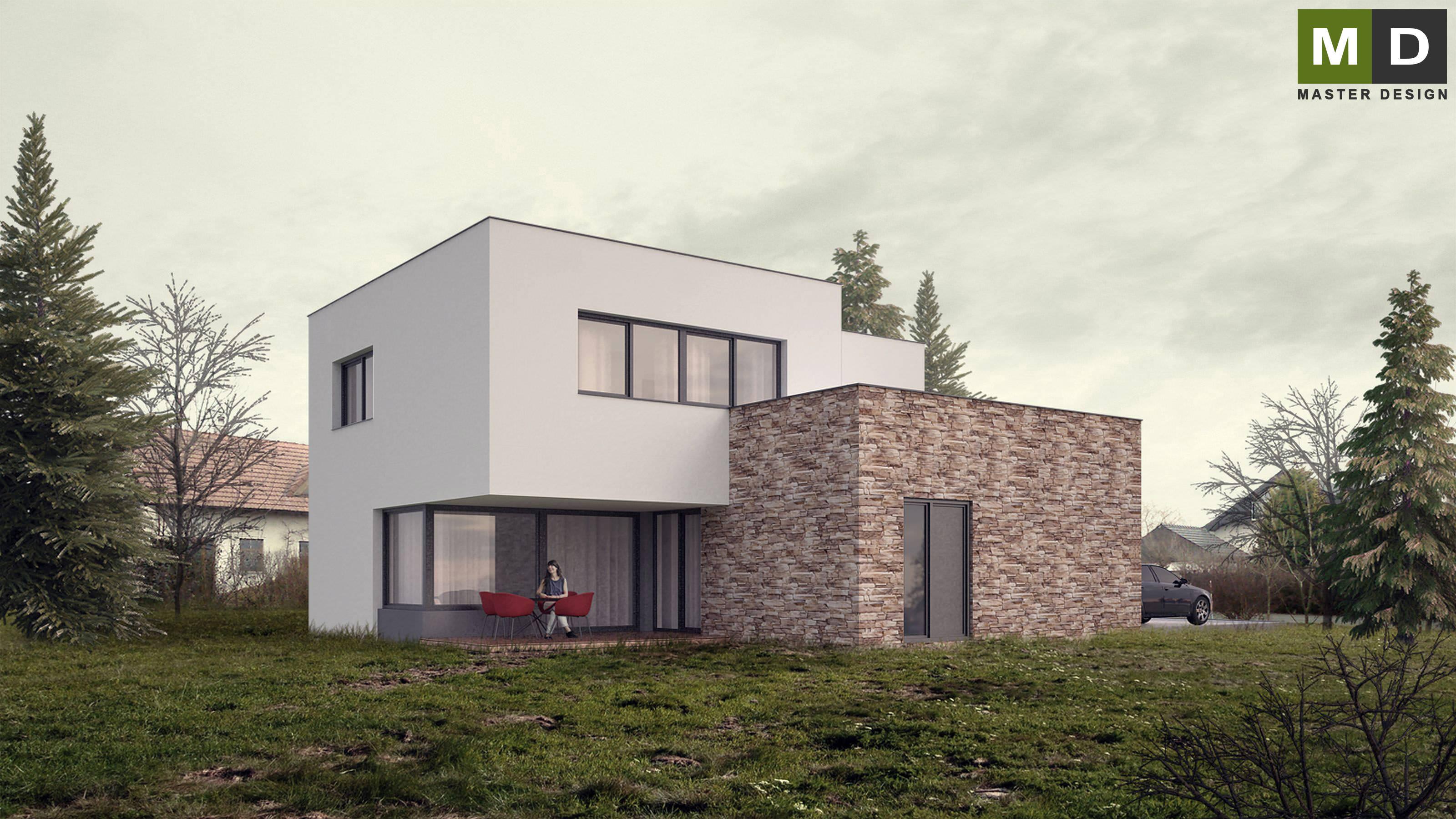 ... Economic L Shaped House With A Flat Roof   Praha Dolní Břežany    Vizualizace 1 ...