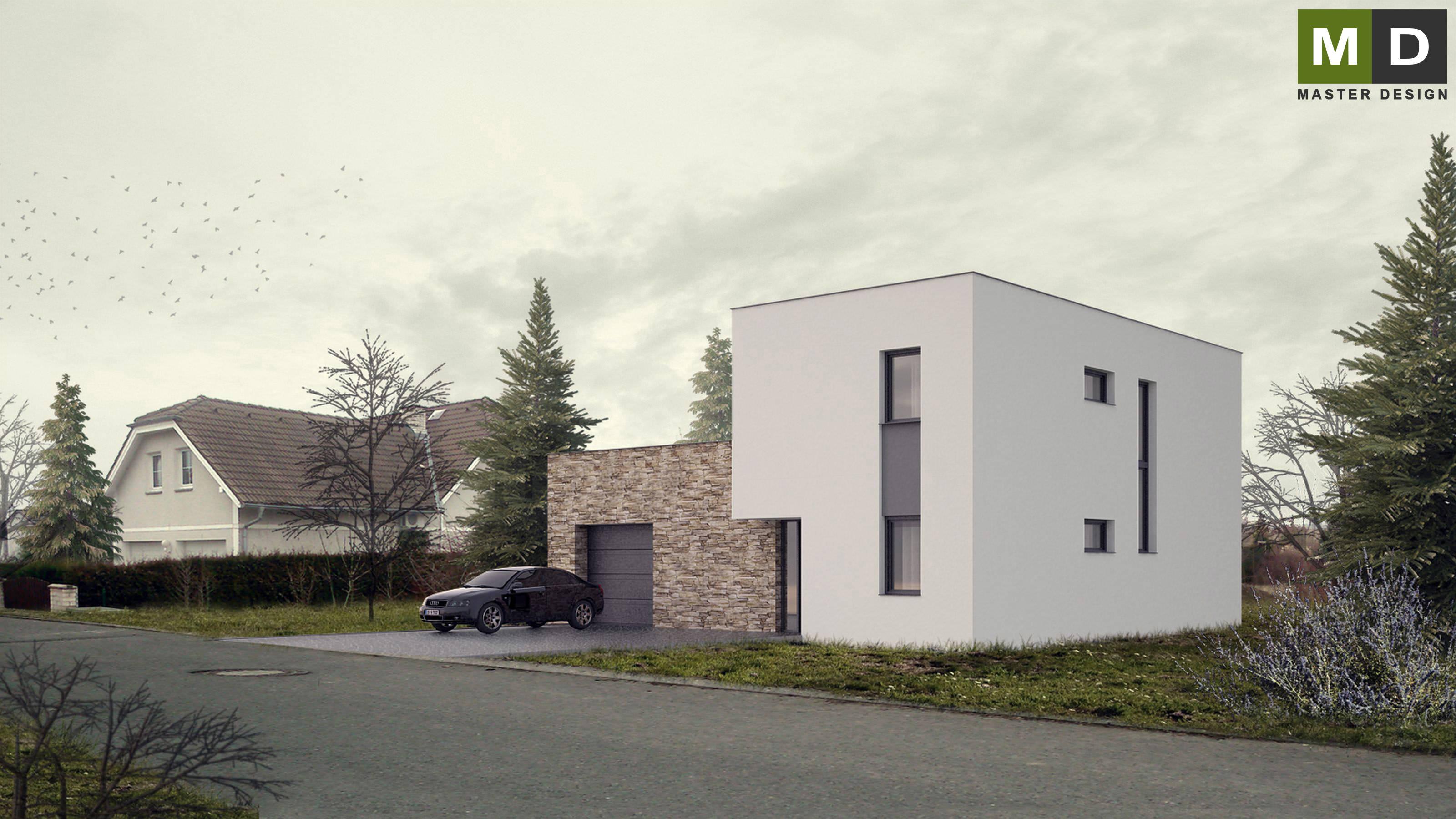 ... Economic L Shaped House With A Flat Roof   Praha Dolní Břežany    Vizualizace 2 ...
