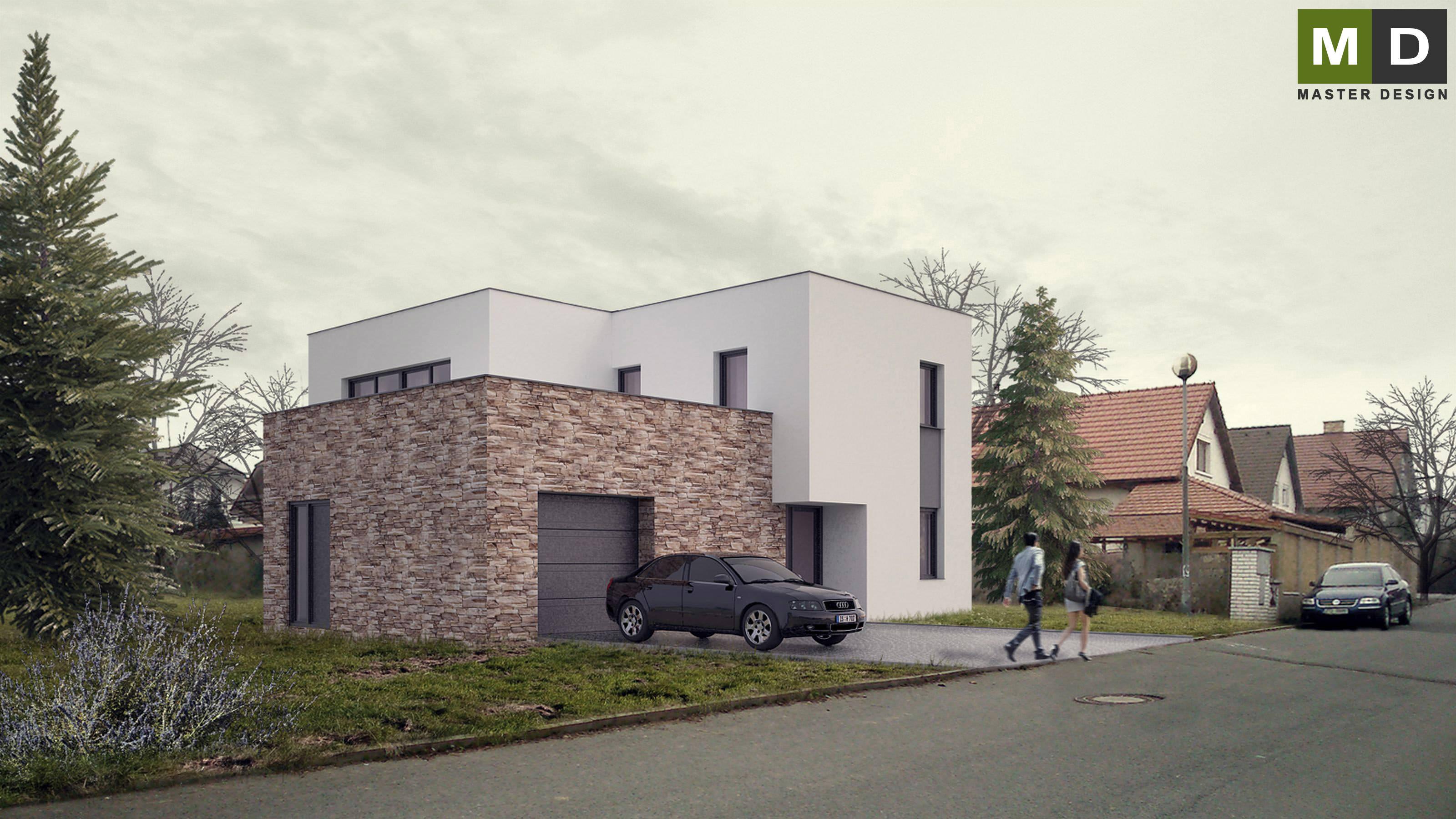 Economic L Shaped House With A Flat Roof   Praha Dolní Břežany    Vizualizace 3 ...