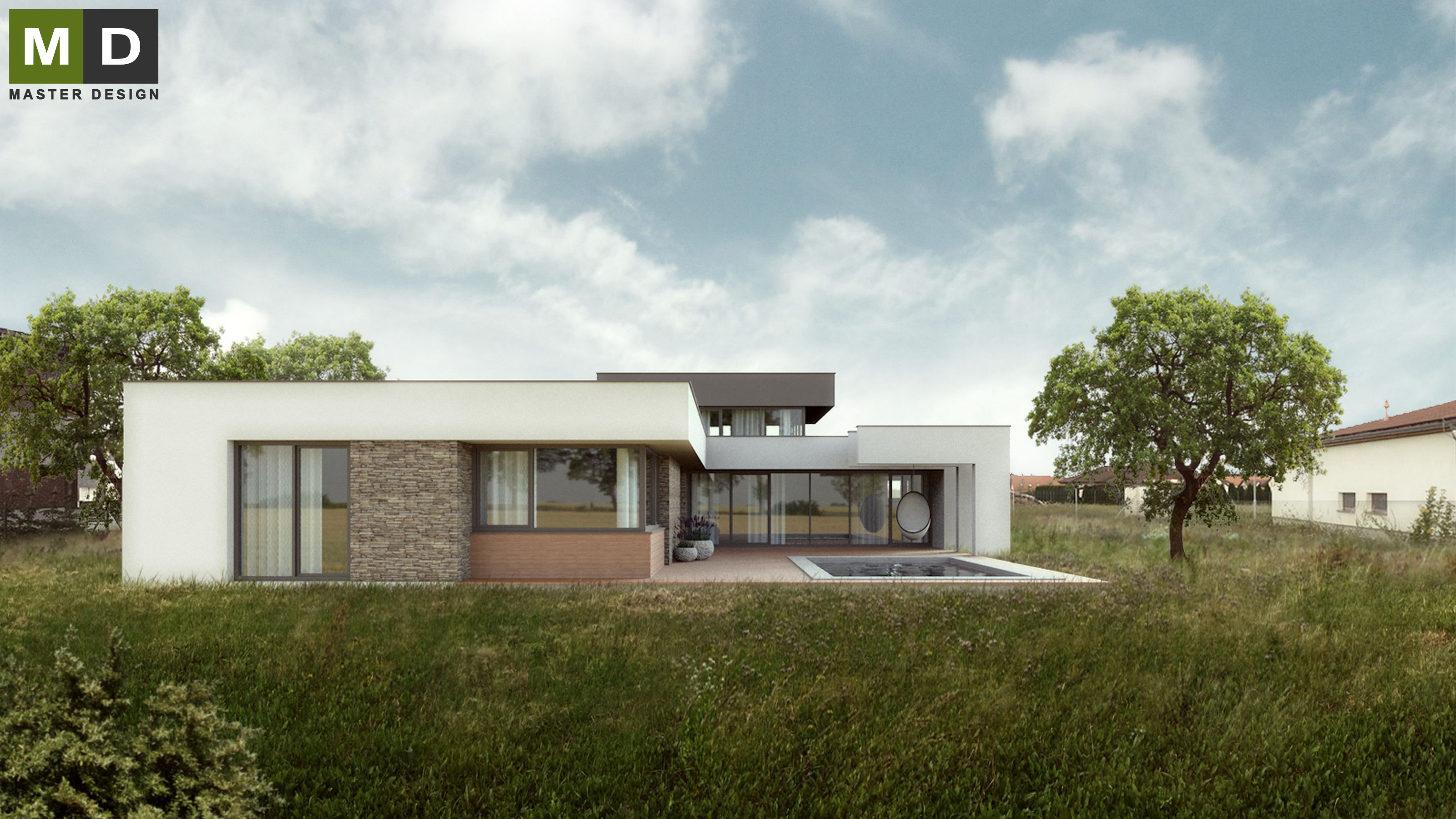 Luxury low energy bungalow with a flat roof - Osnice | MASTER DESIGN ...