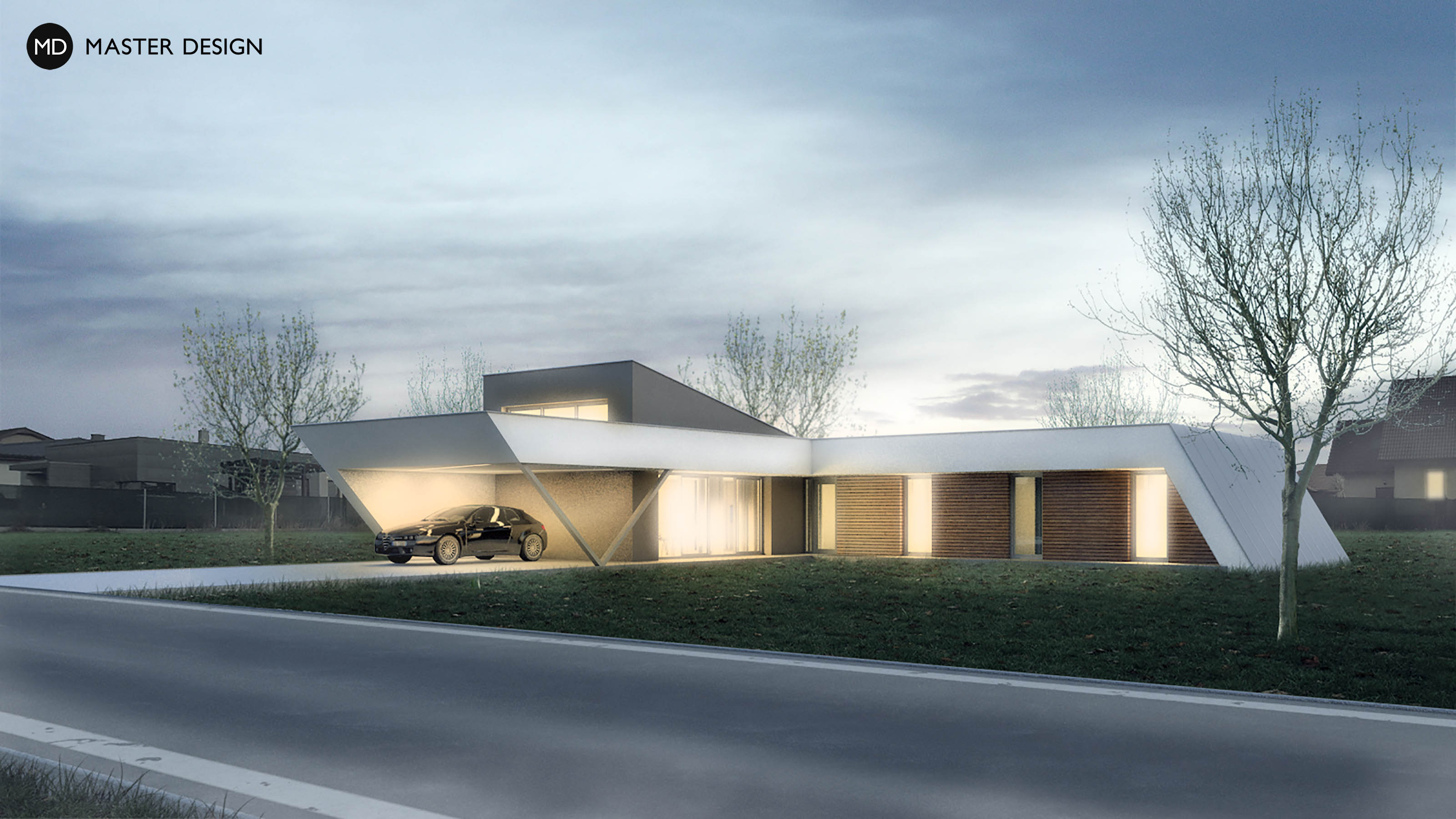 ... Elegant Ground Floor L Shaped Bungalow With A Flat Roof   Polanka Nad  Odrou ...